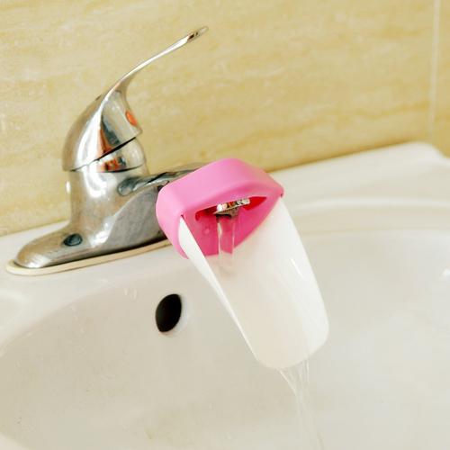 带专利儿童洗手辅助导水槽 洗手器--粉+白色