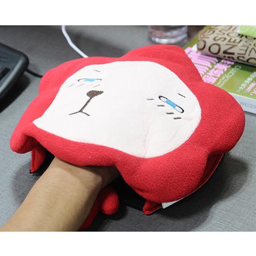 伊品堂卡通带手托USB发热保暖鼠标垫--红色狮子