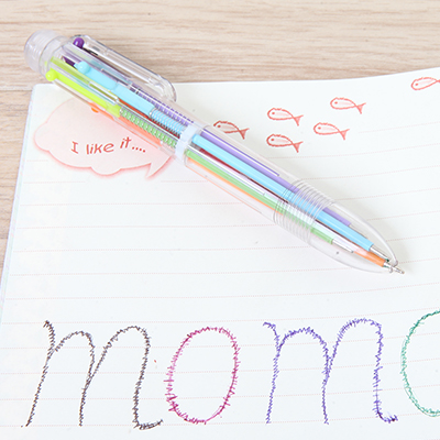透明杆彩色6色圆珠笔