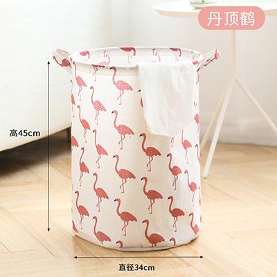 可折叠防水棉麻脏衣篮 杂物收纳筐--丹顶鹤(小号)