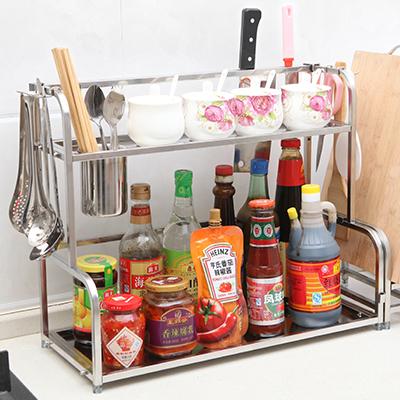不锈钢厨房带刀架筷子筒双层收纳置物架--长50cm