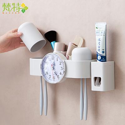 梵特壁挂无痕贴2杯牙刷架 创意时钟洗漱套装--灰色