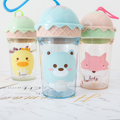 卡通冰淇淋造型带提手透明水杯 250毫升