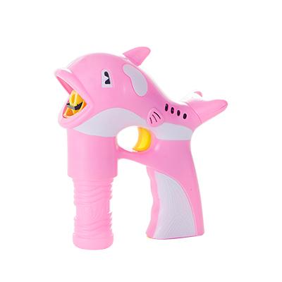 兒童趣味全自動帶燈光音樂海豚吹泡泡機--粉色
