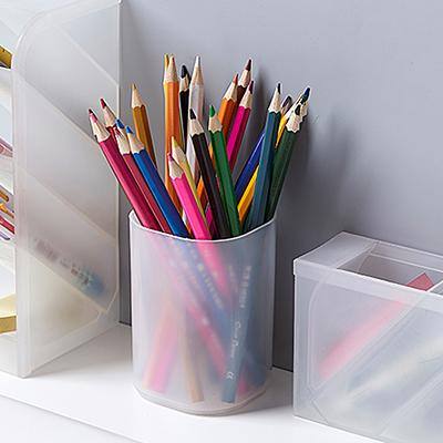 桌面文具收纳盒 圆形笔筒--透明白色