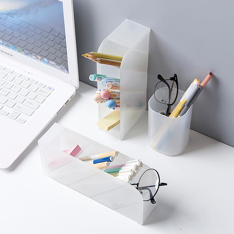 桌面文具收納盒 圓形筆筒--透明白色