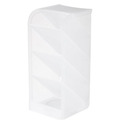 桌面横竖两用4格文具收纳盒 分格笔筒 化妆品收纳盒--透明白大号加宽