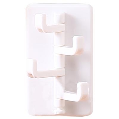 无痕贴可旋转厨卫挂钩 长短4挂钩--白色