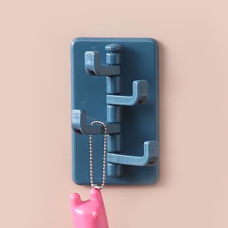 無痕貼可旋轉廚衛掛鉤 長短4掛鉤--深藍色