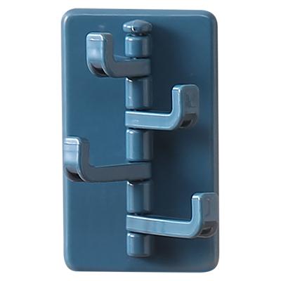 无痕贴可旋转厨卫挂钩 长短4挂钩--深蓝色
