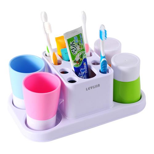 时尚撞色四口之家洗漱口杯牙刷架套装(7853)