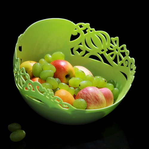 商品名称:圆形雕花镂空多用水果盘 糖果盒--绿色