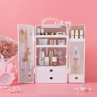 蝴蝶结卡扣手提双开门大容量多格防水化妆品收纳盒--俏丽粉