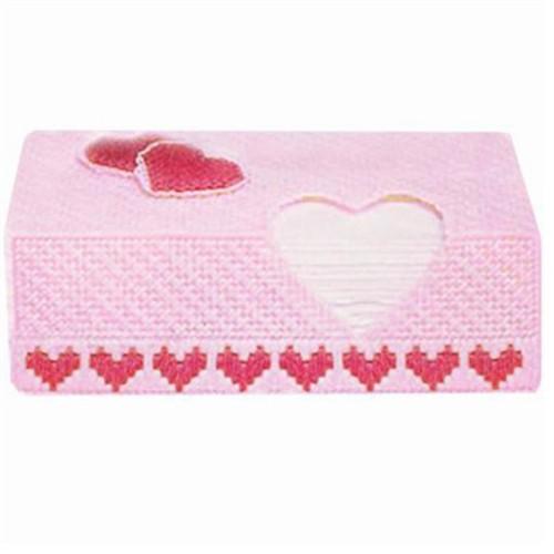 妙恋立体十字绣粉色爱心纸巾盒(b-23)