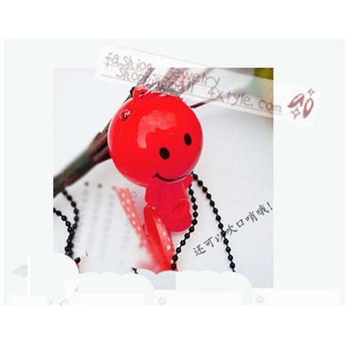 商品名称:非主流可爱童趣红色笑脸娃娃口哨蝴蝶结韩国明星毛衣链(7091