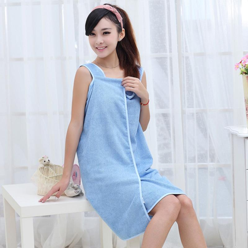 优质超强吸水百变魔术浴巾/浴裙--成人款(湖蓝色)