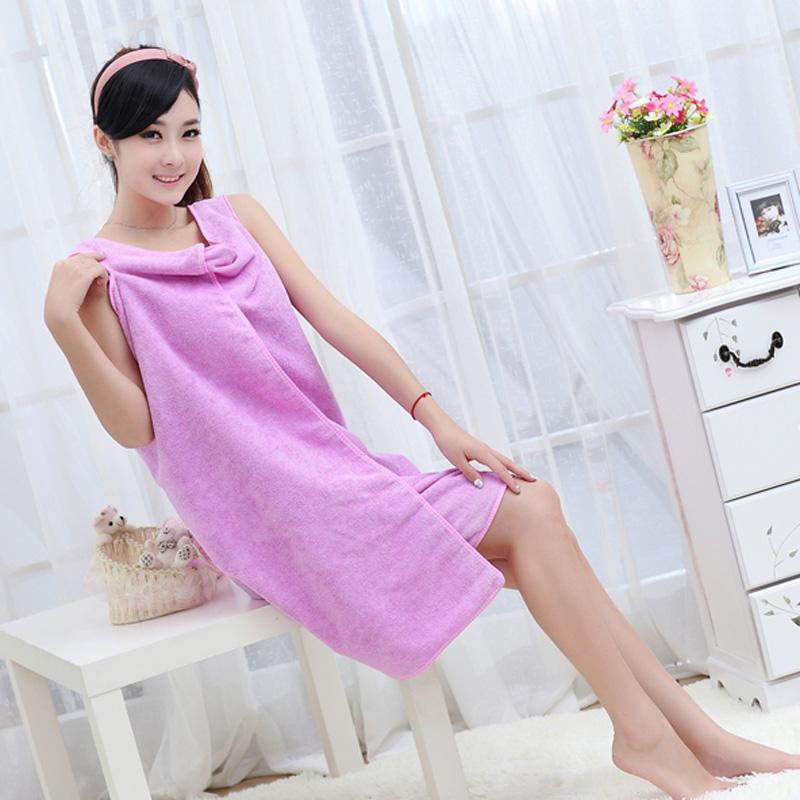 优质超强吸水百变魔术浴巾/浴裙--成人款(浅紫色)