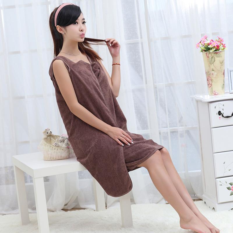 优质超强吸水百变魔术浴巾/浴裙--成人款(咖啡色)