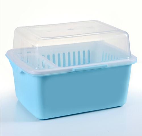 家英带盖欧式沥水碗架/餐具收纳盒-浅蓝色(a241-7)